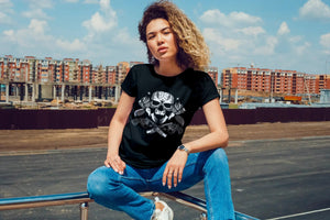 Amrak Women's Printed Round Neck T-Shirt - Guns & Roses