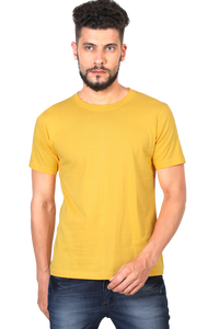 Amrak Men's Round Neck T-Shirt - Plain Golden Yellow