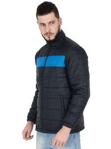 Amrak Men's Colorblock Puffer Jacket - Black With Aqua Blue Rib