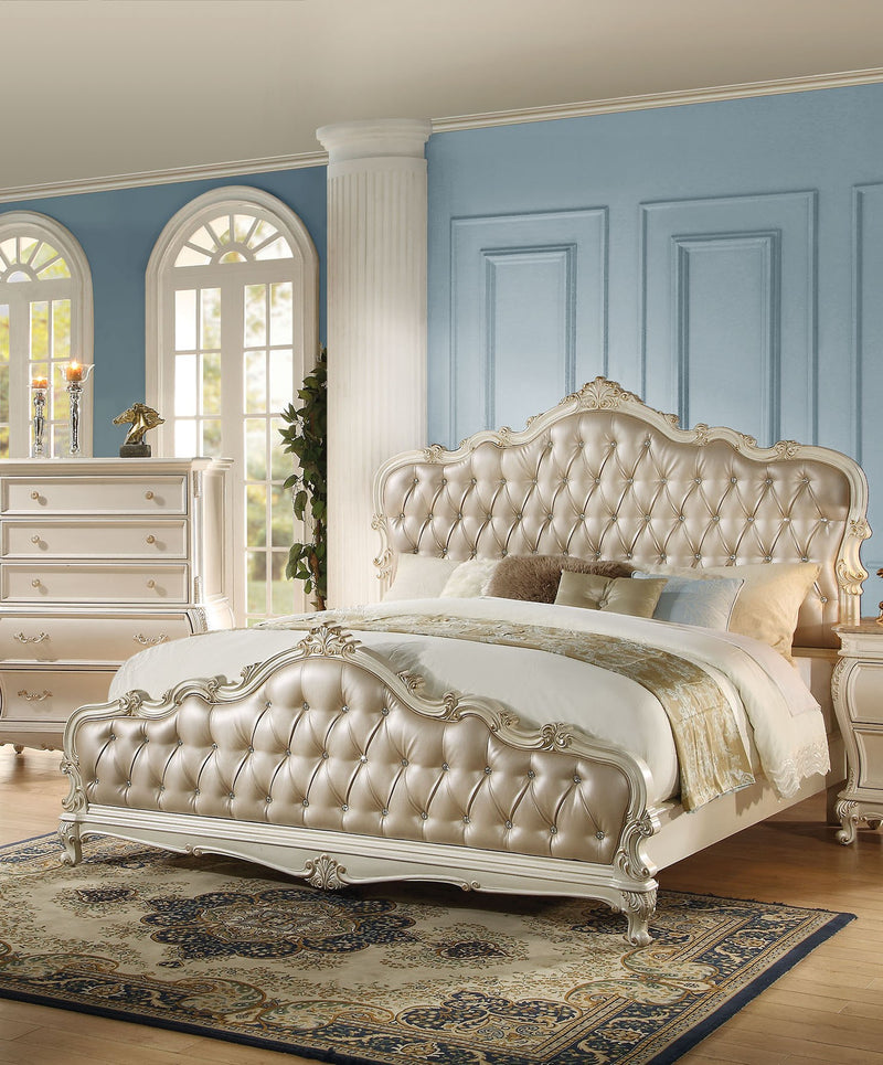 Acme Chantelle California King Bed with Button Tufted Panels in Pearl White 23534CK image