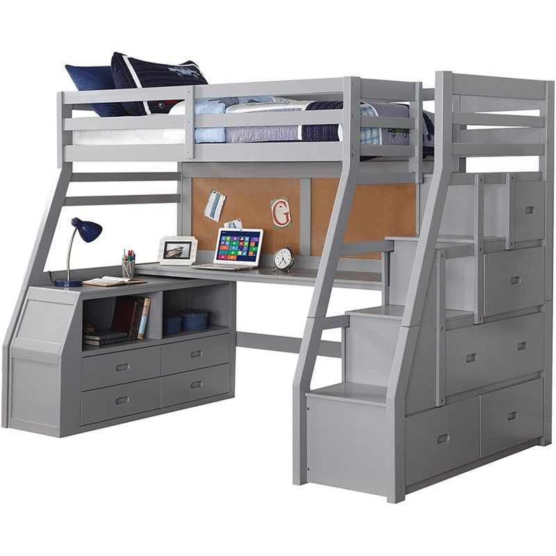 Acme Jason II Twin Loft Bed & Ladder in Gray 37445 image