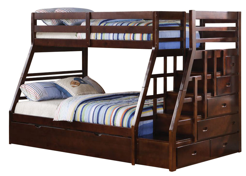 Acme Jason Twin over Full Bunk Bed with Storage Ladder and Trundle in Espresso 37015 image