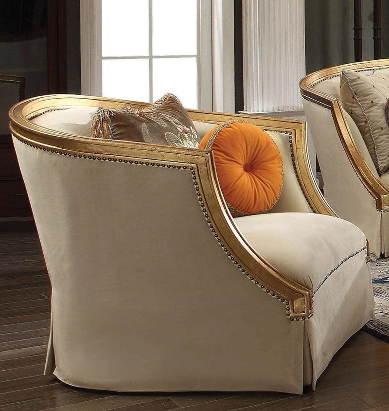 Acme Furniture Daesha Chair in Tan Flannel & Antique Gold 50837 image