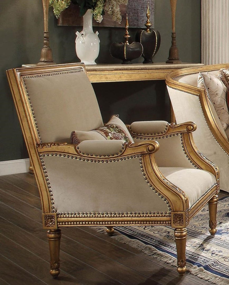 Acme Furniture Daesha Accent Chair in Tan Flannel & Antique Gold 50838 image