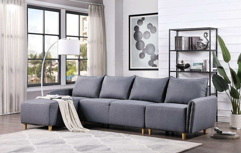 Marcin Blue Fabric Sectional Sofa image
