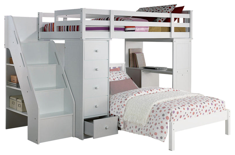 Acme Freya Loft Bed with Bookcase Ladder in White 37145 image