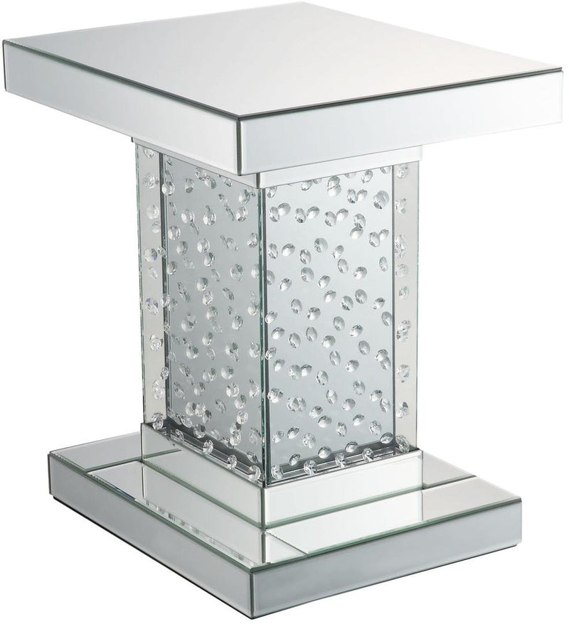 Acme Furniture Nysa End Table in Mirrored & Faux Crystals 80284 image