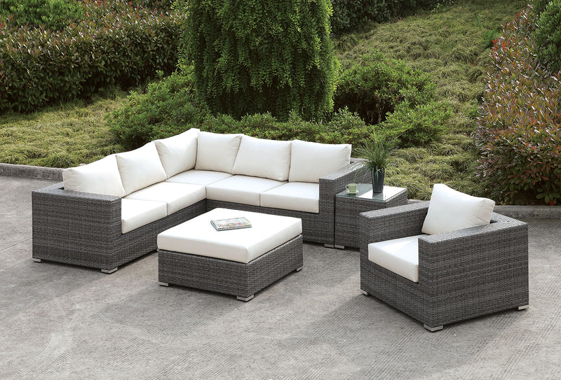 Somani Light Gray Wicker/Ivory Cushion L-Sectional + Chair + Coffee Table + End Table image