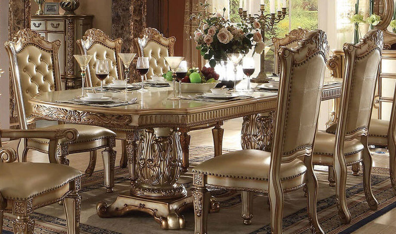 Acme Vendome Double Pedestal Dining Table in Gold Patina 63000 image