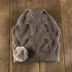 Chevron Pom Toque in sable