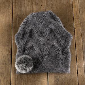 Chevron Pom Toque in slate