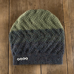 Tri-Zag Toque in denim to leaf