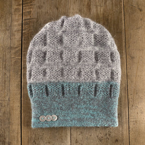 Rosseau Two-Tone Toque in aqua storm to storm