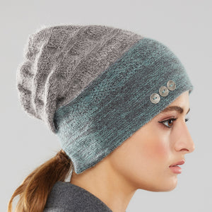 Rosseau Two-Tone Toque in aqua/storm