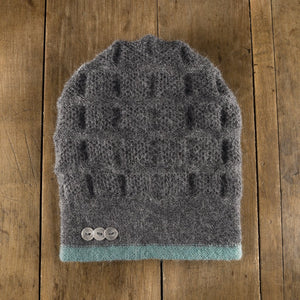 Rosseau Stripe Split Back Hat in sea/slate