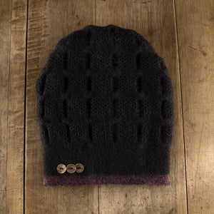 Rosseau Stripe Split Back Hat in wine/onyx