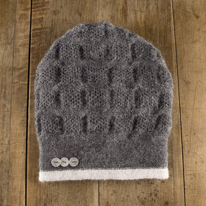 Rosseau Stripe Split Back Hat in muslin/slate