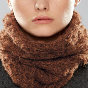 Web Loop Scarf worn as a collar, close-up