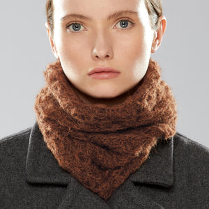 Web Loop Scarf worn as a collar