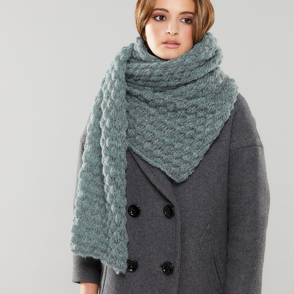 Misty Long scarf worn like a capelet