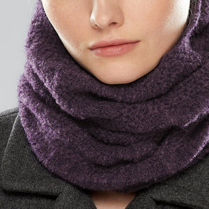 Nakiska Loop Scarf worn as a collar, close-up