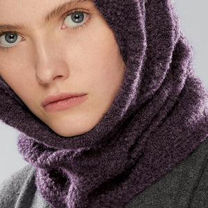 Nakiska Loop Scarf worn as a hood, close-up