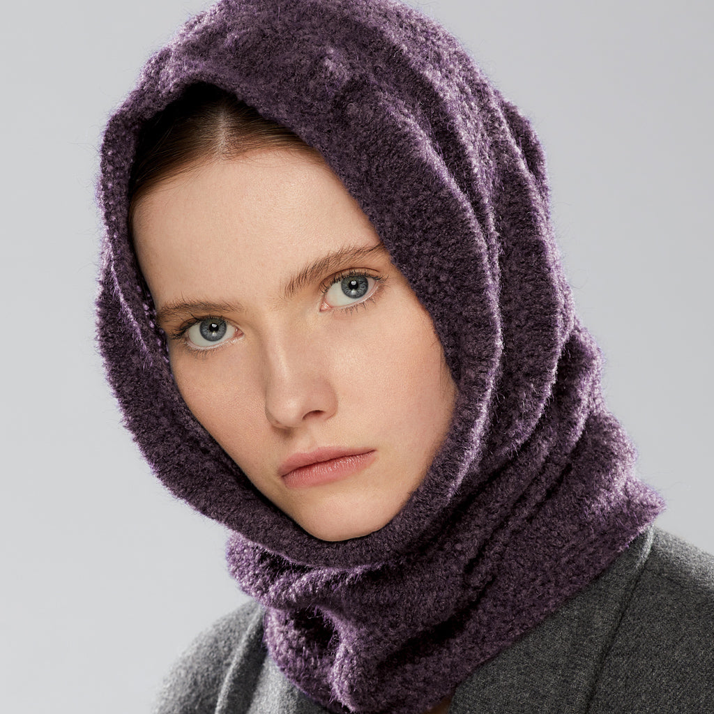 Nakiska Loop Scarf worn as a hood
