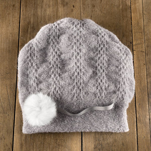 Classic Pom Toque in grey frost
