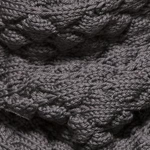 Le Massif Loop Scarf close-up in dark grey