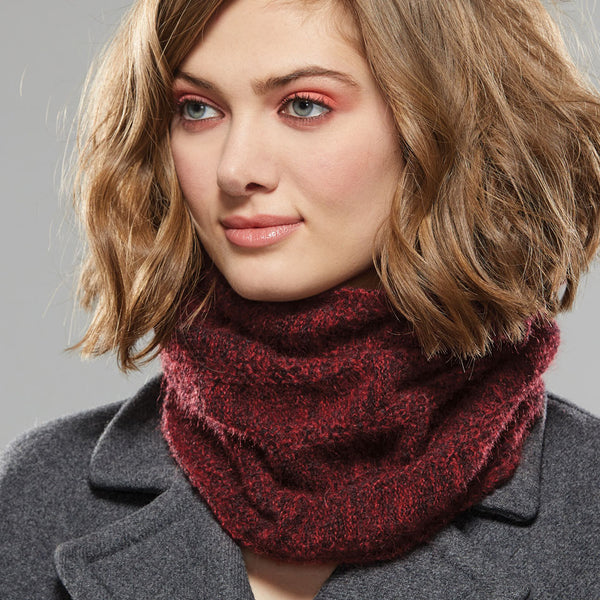 Bancroft Infinity Scarf worn around neck