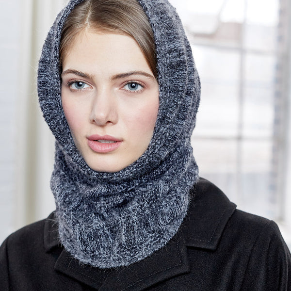 Bancroft Circle Scarf worn as a hood