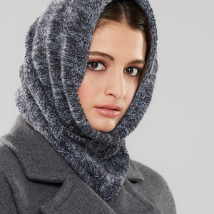 Bancroft Infinity Scarf worn as a hood