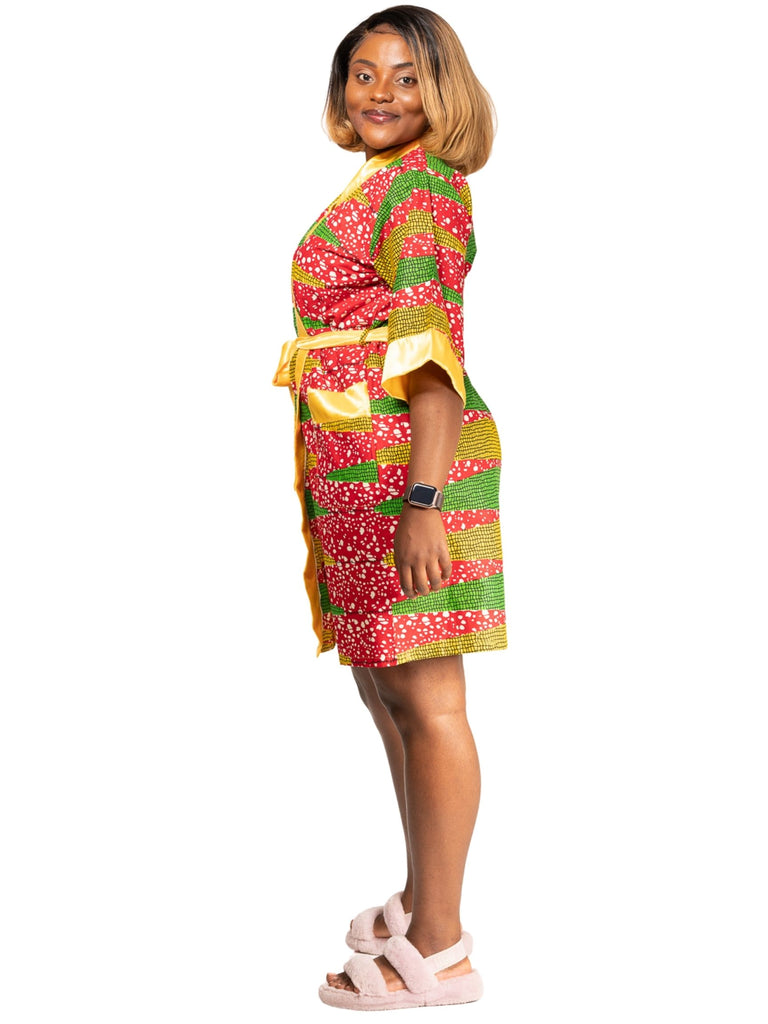 African Print Robe with bonnette