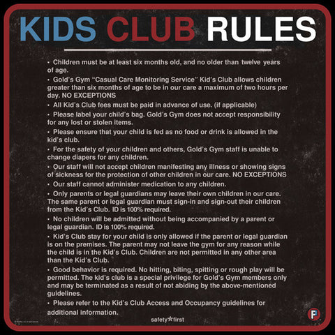 180-KIDS CLUB RULES