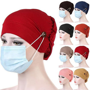Medical Hat With Buttons to Hold Mask