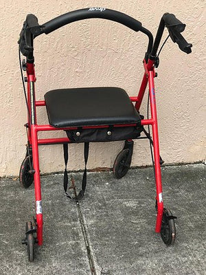 "Used Walker with 6"" Wheels Fold Up Removable Back Support"