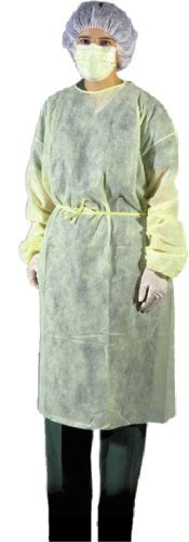 Isolation Gown, fluid repellent, unisize, yellow, 10/pk