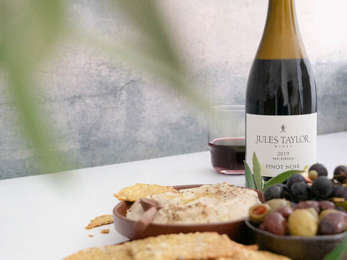 Pinot Pairing: Smoky eggplant dip + turmeric and seed crackers.
