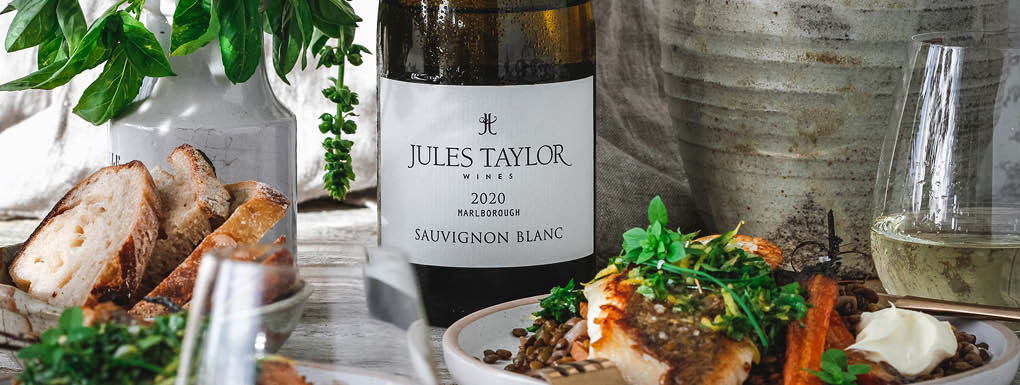 Jules Taylor Sauvignon Blanc with the perfect trans-seasonal dish: Snapper, citrus and lentils