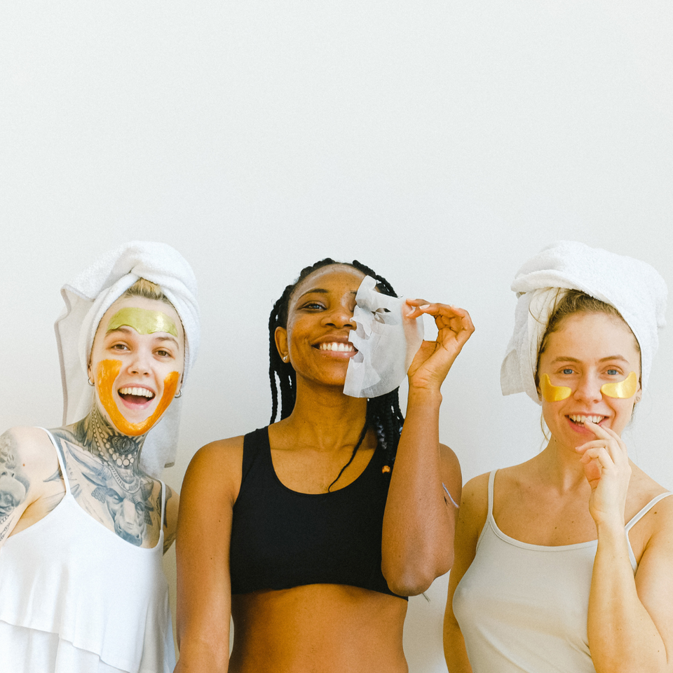 girls of all backgrounds taking care of their skin with masks osmosis skin care aesthetician