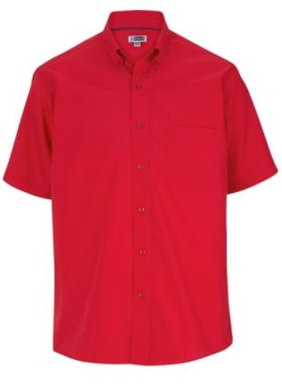 Red Solid Color Work Shirt
