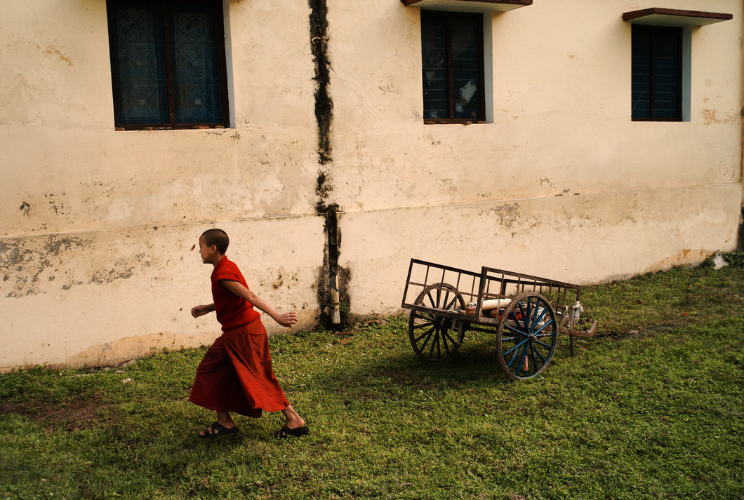 Young Monk Running