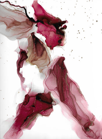 white and rose and red alcohol ink abstract painting by artist Nik Torres Designs. 9 by 12 inches