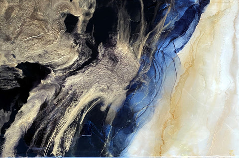 black gold abstract painting with resin by artist Nik Torres Designs. 24 by 36 inches