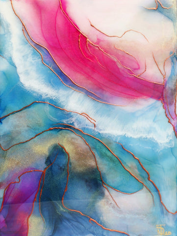 light blue pink white copper and gold abstract painting by artist Nik Torres Designs. 9 x 12 inches