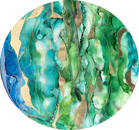 """green blue and gold round painting with alcohol ink and resin by artist Nik Torres Designs. 37"""" diametre"""