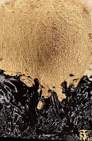 gold and black textured shiny abstract painting. 5 by 7 inches by artist Nik Torres Designs.
