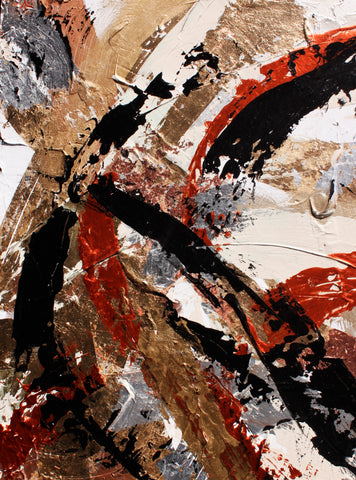 black gold copper white metallic abstract painting by artist Nik Torres Designs. 18 by 24 inches