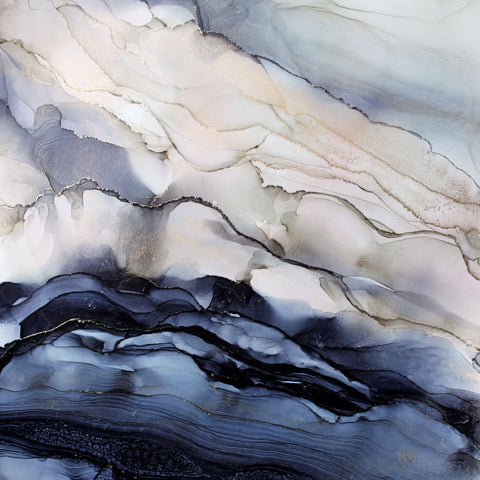 grey blue blush abstract painting by artist Nik Torres Designs. 12 by 12 inches