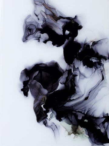 black and white abstract painting on alcohol ink and yupo paper by artist Nik Torres Designs. 9 by 12 inches